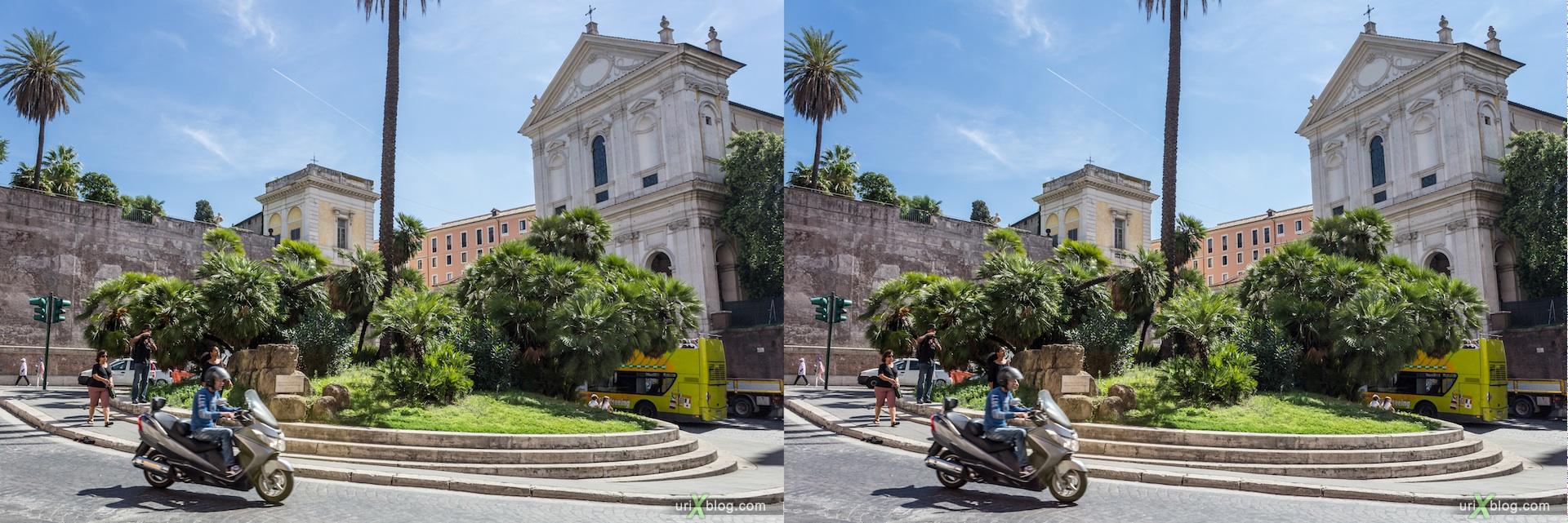2012, площадь Largo Magnanapoli, Рим, Италия, осень, 3D, перекрёстные стереопары, стерео, стереопара, стереопары