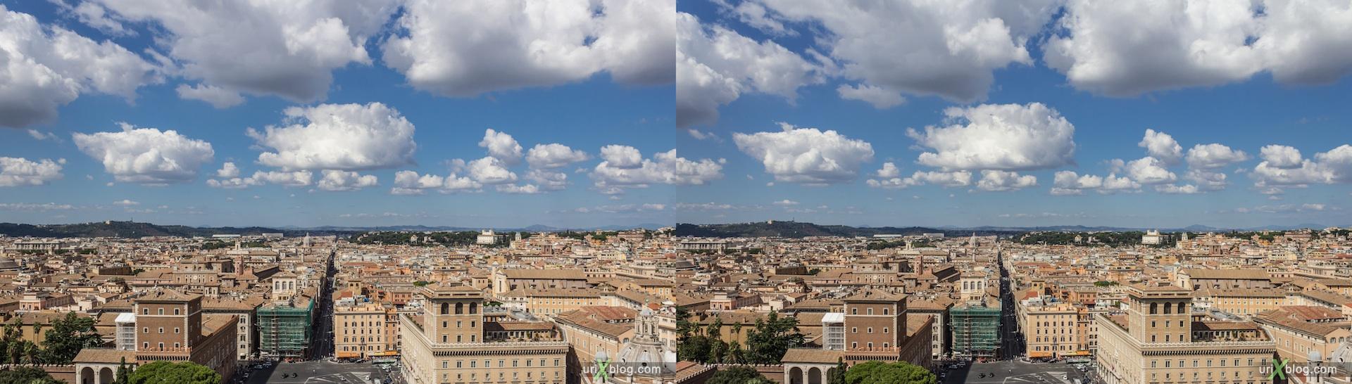 2012, Витториано, Монумент Виктора Эммануила II, крыша, смотровая площадка, гиперстерео, Рим, Италия, осень, 3D, перекрёстные стереопары, стерео, стереопара, стереопары