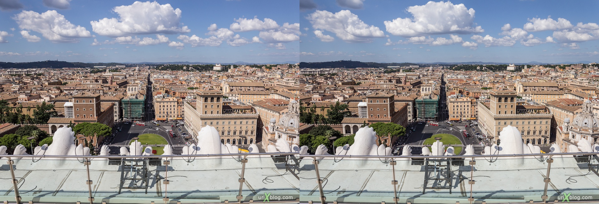 2012, Vittoriano, Monument of Vittorio Emanuele II, roof, panorama, viewpoint, city view, Rome, Italy, Europe, 3D, stereo pair, cross-eyed, crossview, cross view stereo pair