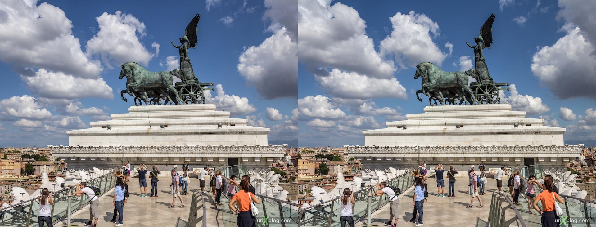 2012, Витториано, Монумент Виктора Эммануила II, крыша, смотровая площадка, Рим, Италия, осень, 3D, перекрёстные стереопары, стерео, стереопара, стереопары