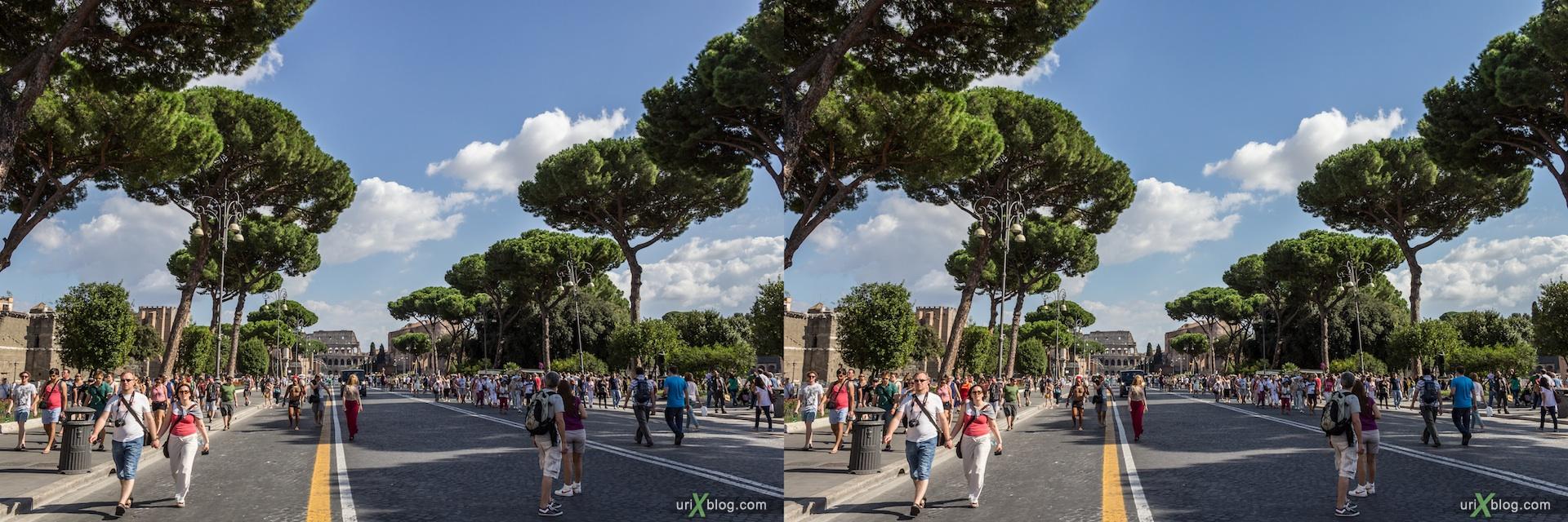 2012, пешеходная улица Via dei Fori Imperiali, люди, Рим, Италия, осень, 3D, перекрёстные стереопары, стерео, стереопара, стереопары