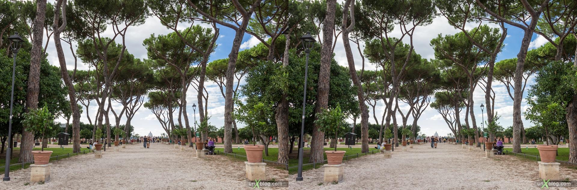 2012, апельсиновый сад, парк Савелло, церковь Санта Сабина, смотровая площадка, Рим, Италия, осень, 3D, перекрёстные стереопары, стерео, стереопара, стереопары