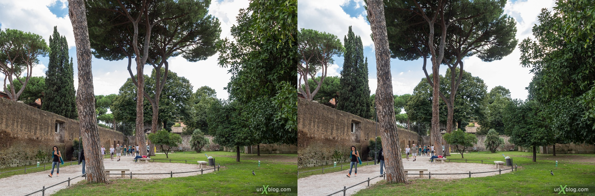 2012, garden of the oranges, Savello park, basilica of Santa Sabina, Rome, Italy, Europe, 3D, stereo pair, cross-eyed, crossview, cross view stereo pair
