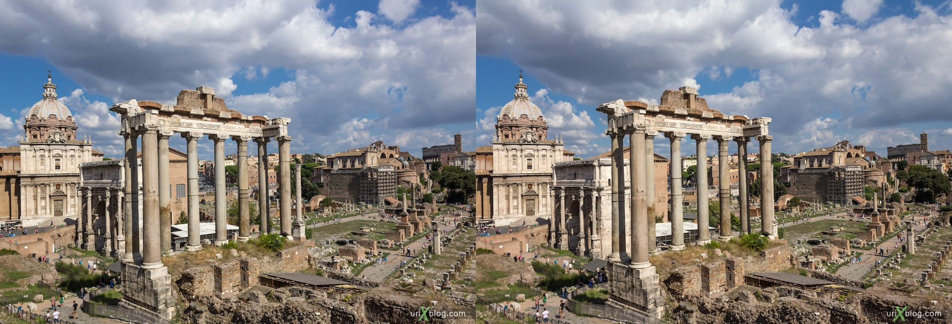 2012, Рим, Италия, Rome, Italy, Римский Форум, Roman Forum, 3D, stereo pair, cross-eyed, crossview, стерео, стереопара