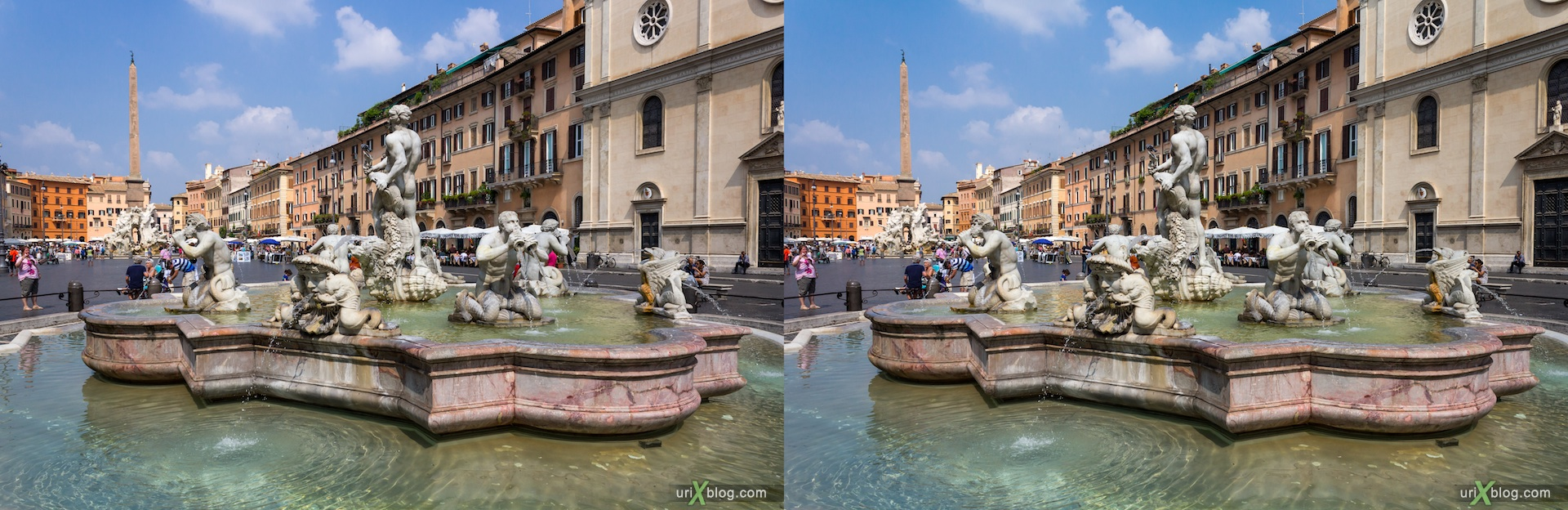 2012, Рим, Италия, Rome, Italy, Площадь Навона, фонтан Мавра, Fontana del Moro, Piazza Navona, 3D, stereo pair, cross-eyed, crossview, стерео, стереопара