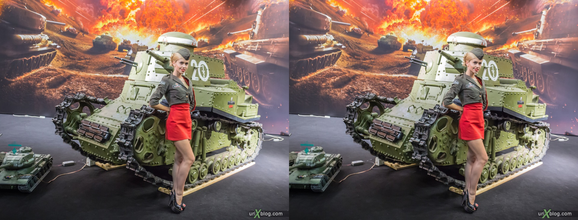 2012, Gameworld 2012 at Moscow, girls, models, Crocus Expo, 3D, stereo pair, cross-eyed, crossview, cross view stereo pair