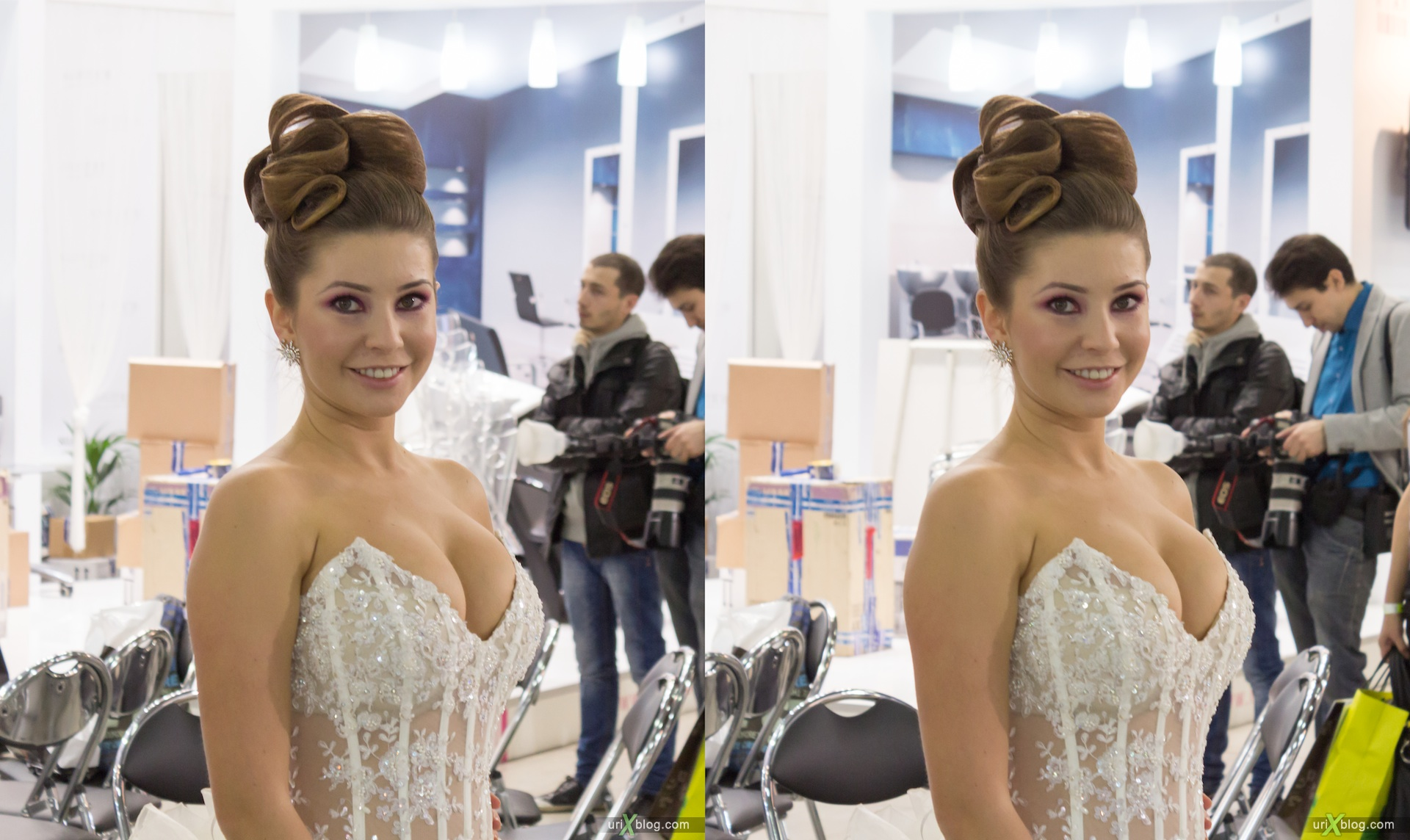 2012, interCharm exhibition, Crocus Expo, Moscow, girls, models, 3D, stereo pair, cross-eyed, crossview, cross view stereo pair
