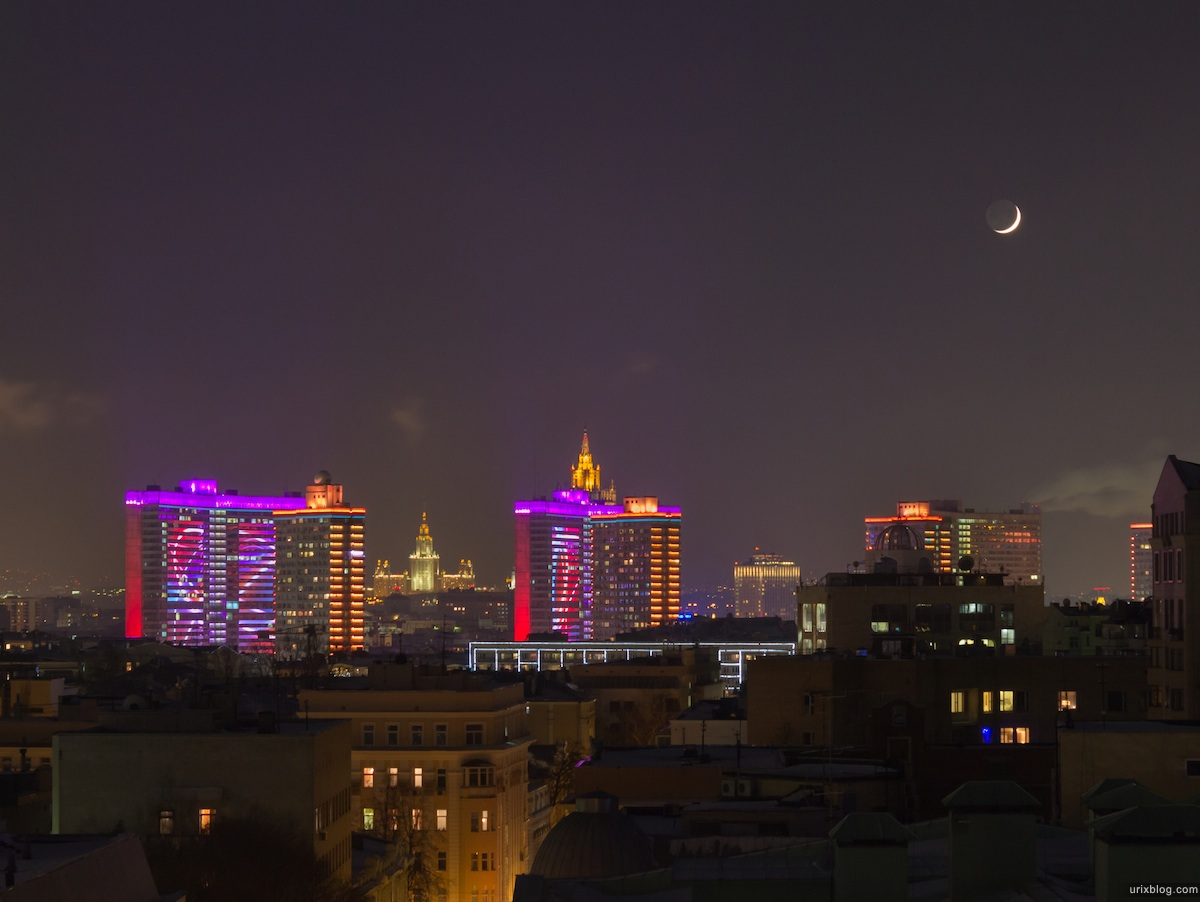 2012, Moon, New Arbat, roofs, Moscow
