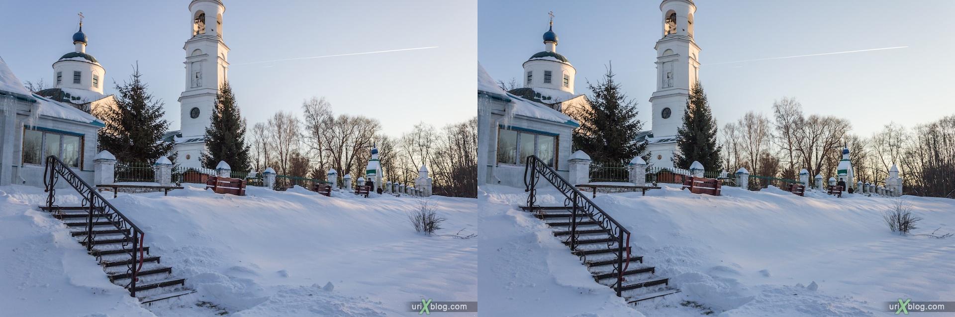 2012, церковь, Иосифо-Волоцкий монастырь, Московская область, Россия, зима, снег, мороз, солнце, 3D, перекрёстные стереопары, стерео, стереопара, стереопары