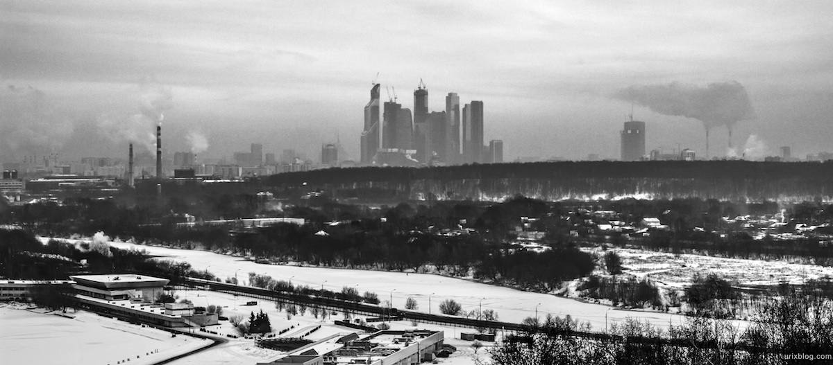 2012, Krylatsky hills, Moscow, Russia, winter, snow, panorama, Moscow city