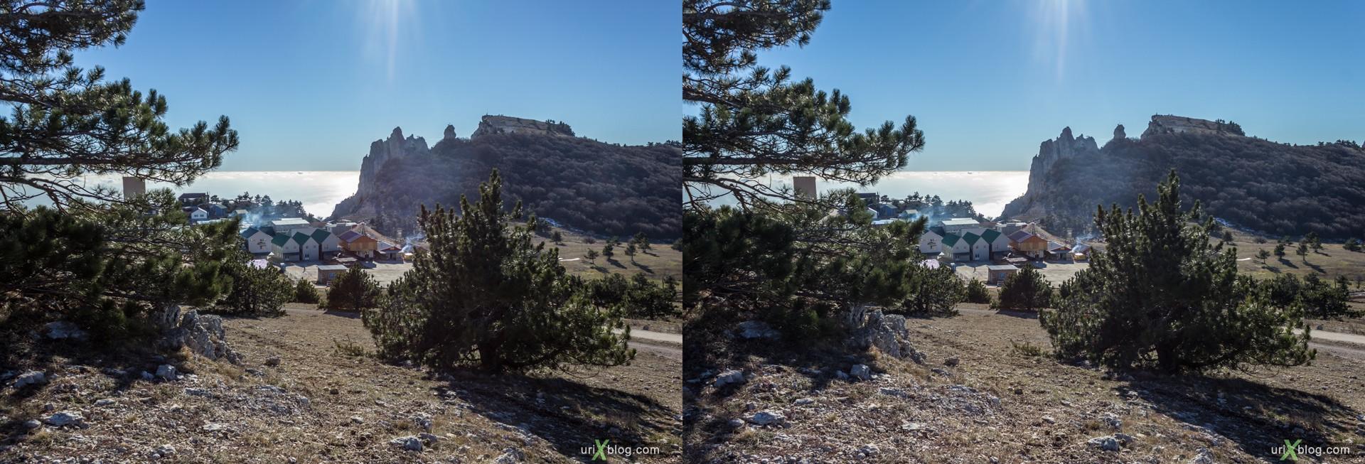 2012, Крым, Россия, Украина, Ай-Петри, Горы, скалы, яйла, зима, 3D, перекрёстная стереопара, стерео, стереопара