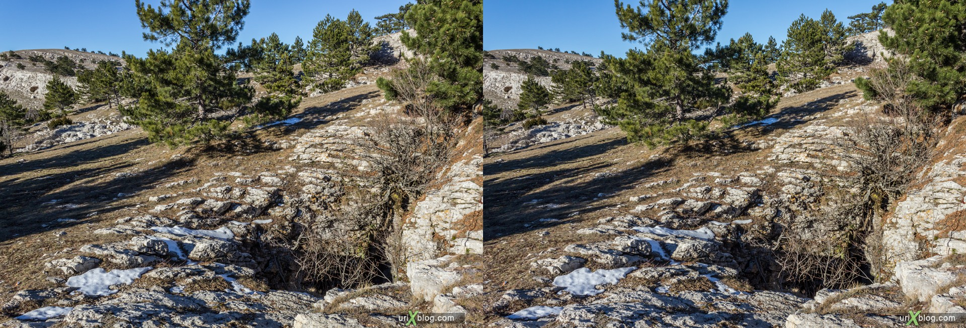 2012, Ai-Petri, mountains, Crimea, Russia, Ukraine, sky, clouds, snow, winter, 3D, stereo pair, cross-eyed, crossview, cross view stereo pair, stereoscopic