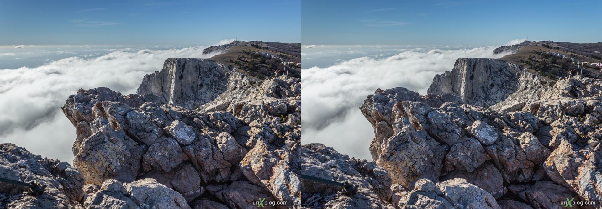 2012, Крым, Россия, Украина, Ай-Петри, Горы, скалы, небо, облака, яйла, зима, 3D, перекрёстная стереопара, стерео, стереопара