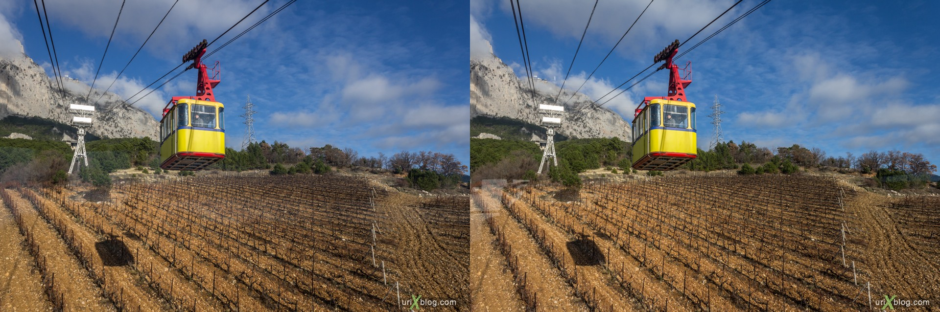 2012, Ai-Petri, mountains, Crimea, Russia, Ukraine, cableway, winter, 3D, stereo pair, cross-eyed, crossview, cross view stereo pair, stereoscopic