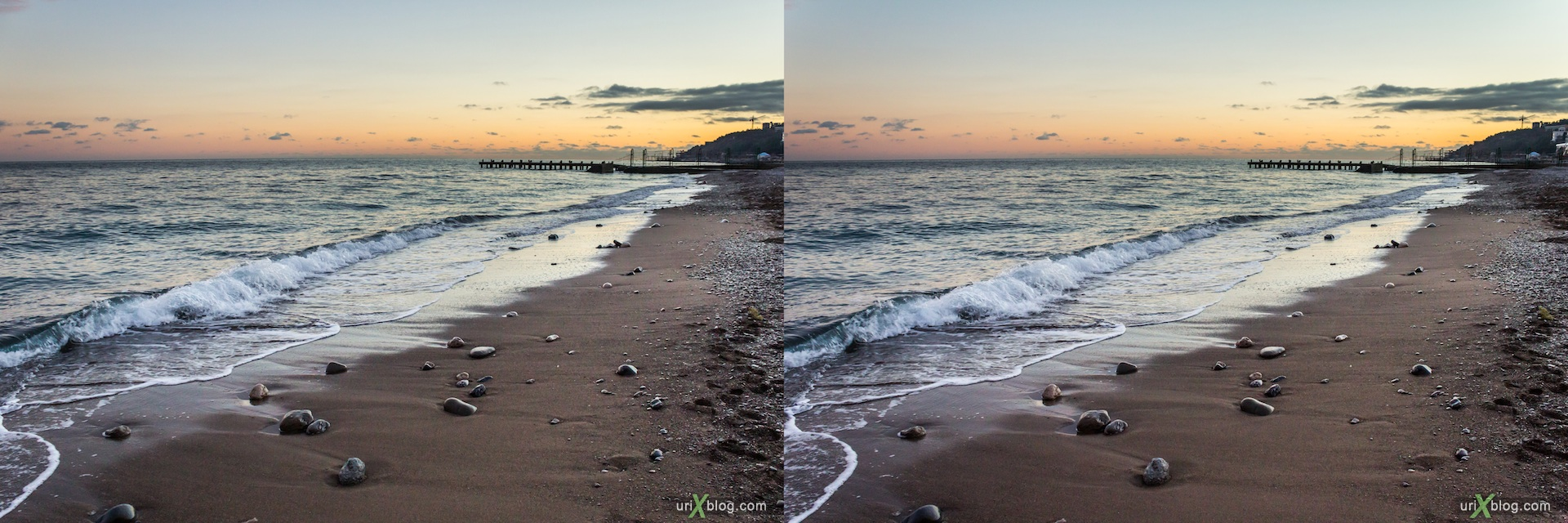 2012, sunset, beach, Black sea, Imeni Lenina embankment, Yalta, evening, coast city, Crimea, Ukraine, 3D, stereo pair, cross-eyed, crossview, cross view stereo pair, stereoscopic