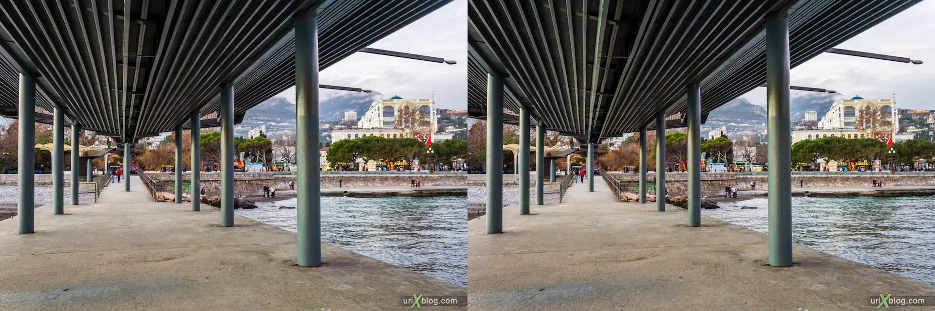 2012, Yalta, beach, sea, Imeni Lenina embankment, groyne, evening, coast city, Crimea, Ukraine, 3D, stereo pair, cross-eyed, crossview, cross view stereo pair, stereoscopic