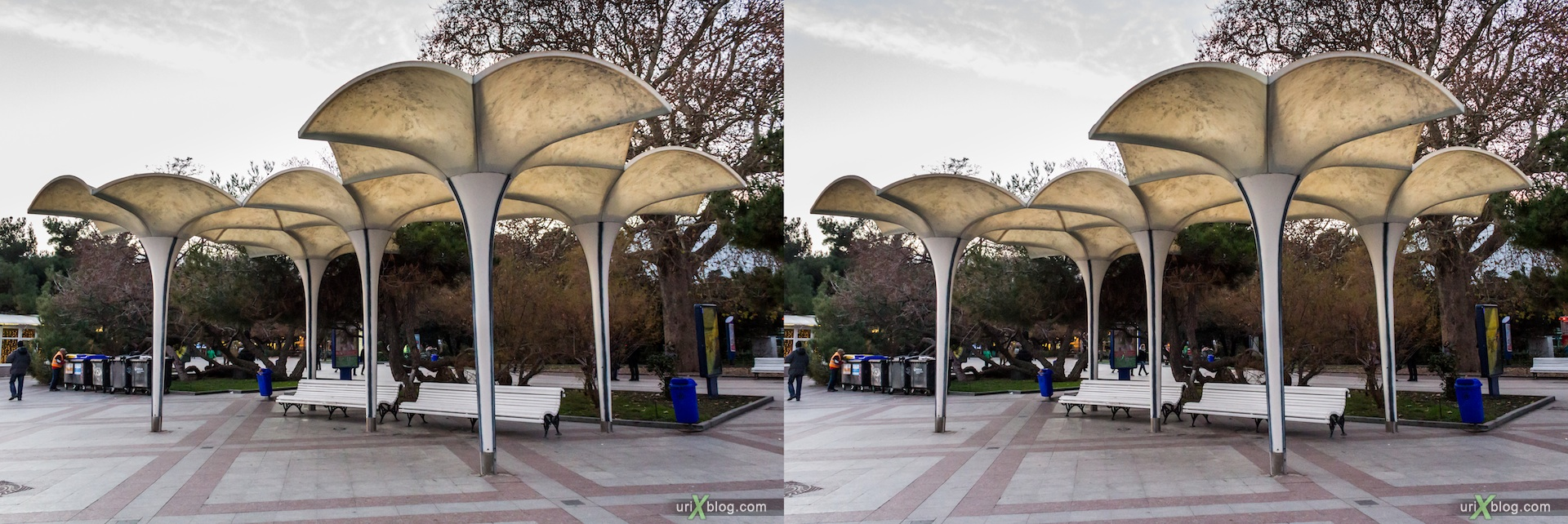 2012, bench, Imeni Lenina embankment, Yalta, evening, coast city, Crimea, Ukraine, 3D, stereo pair, cross-eyed, crossview, cross view stereo pair, stereoscopic