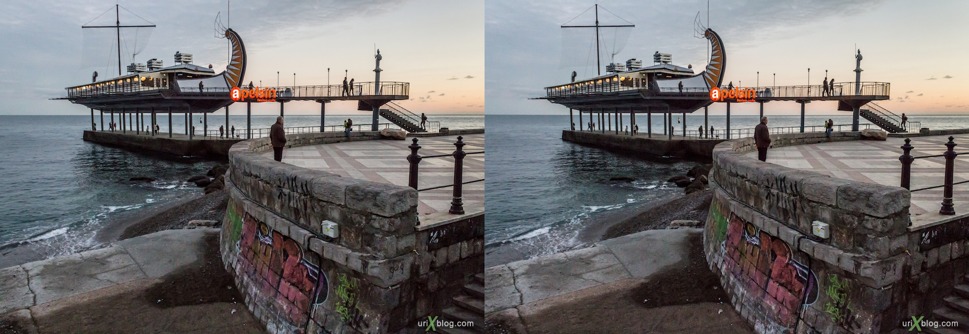 2012, Imeni Lenina embankment, Apelsin cafe, beach, Yalta, sea, evening, coast city, Crimea, Ukraine, 3D, stereo pair, cross-eyed, crossview, cross view stereo pair, stereoscopic