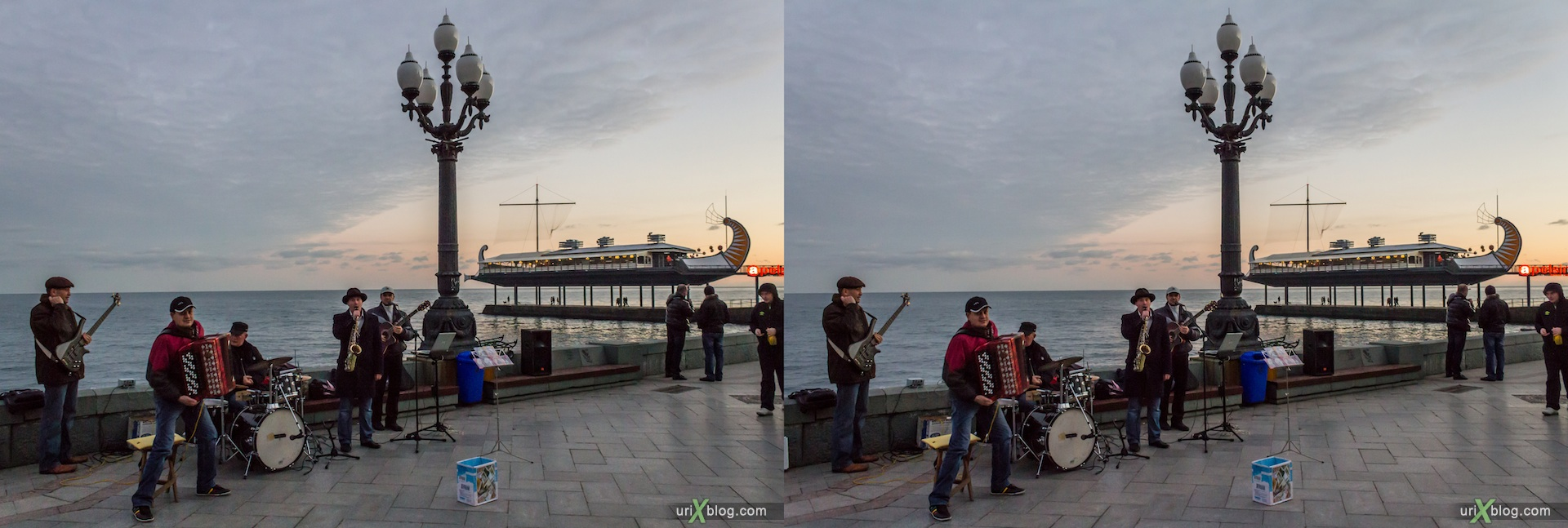 2012, musicians, Imeni Lenina embankment, beach, Apelsin cafe, Yalta, sea, evening, coast city, Crimea, Ukraine, 3D, stereo pair, cross-eyed, crossview, cross view stereo pair, stereoscopic