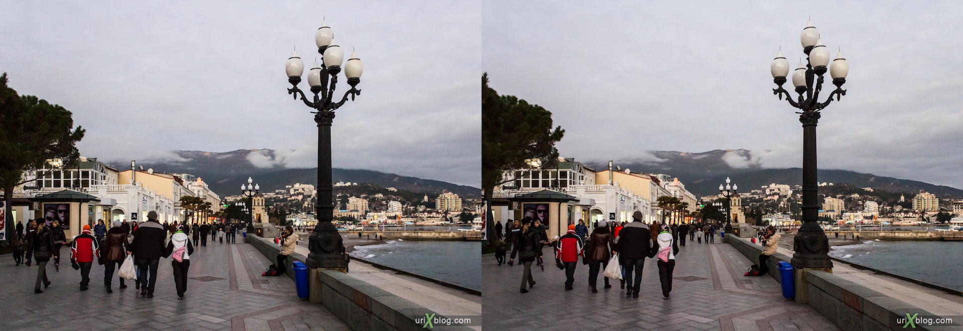 2012, Imeni Lenina embankment, beach, Yalta, sea, evening, coast city, Crimea, Ukraine, 3D, stereo pair, cross-eyed, crossview, cross view stereo pair, stereoscopic