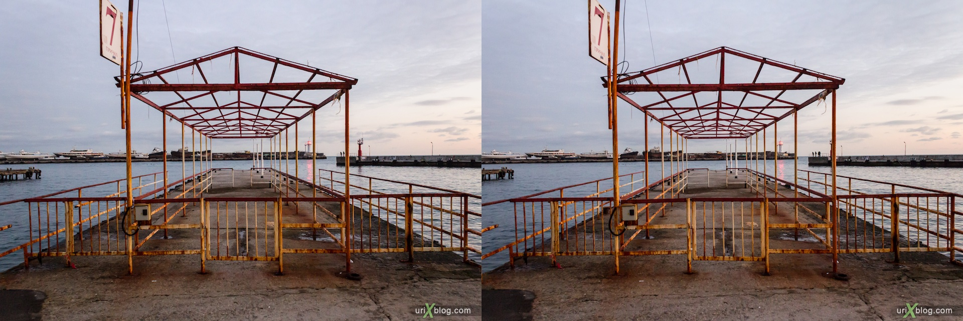 2012, Imeni Lenina embankment, groyne, dock, berth, wharf, Yalta, sea, evening, coast city, Crimea, Ukraine, 3D, stereo pair, cross-eyed, crossview, cross view stereo pair, stereoscopic