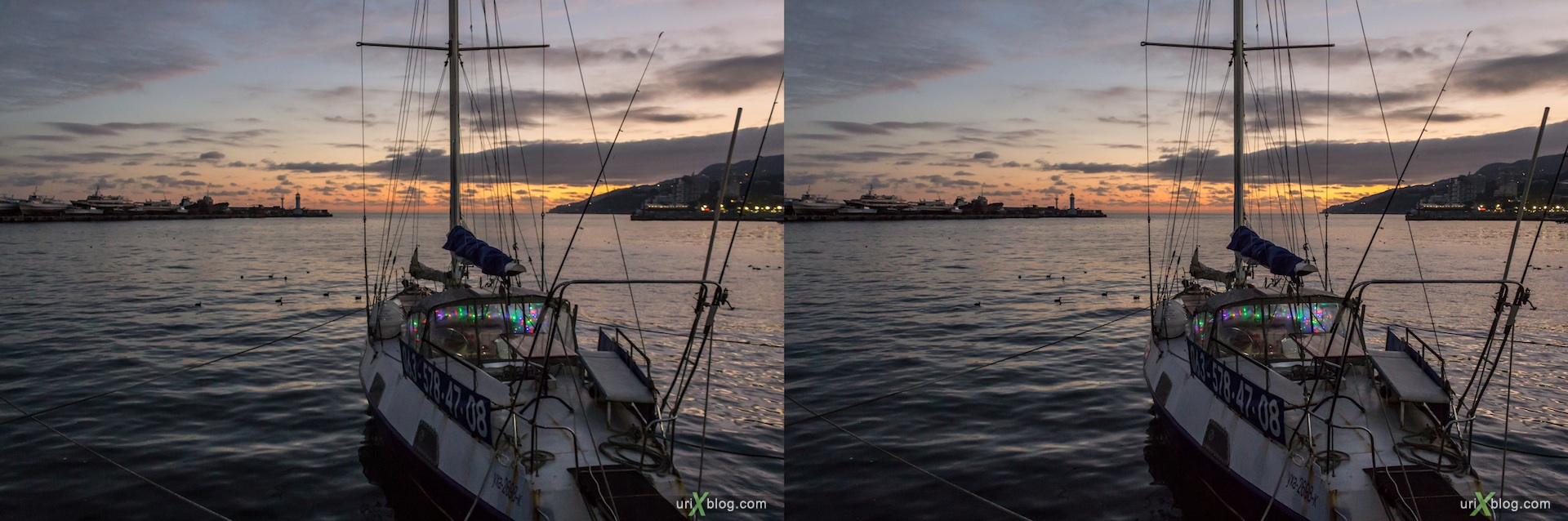 2012, Imeni Lenina embankment, yacht, sunset, new year, holiday, lights, Yalta, sea, evening, coast city, Crimea, Ukraine, 3D, stereo pair, cross-eyed, crossview, cross view stereo pair, stereoscopic