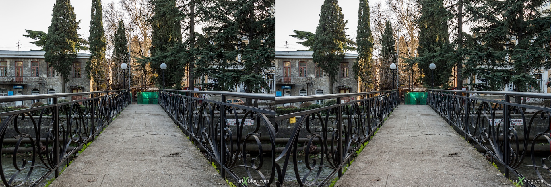 2012, bridge, river, Pushkinskaya street, Gogol street, Yalta, evening, coast city, Crimea, Ukraine, 3D, stereo pair, cross-eyed, crossview, cross view stereo pair, stereoscopic