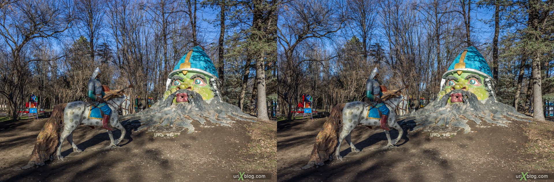 2012, Simferopol, Childrens park, Crimea, Russia, Ukraine, winter, 3D, stereo pair, cross-eyed, crossview, cross view stereo pair, stereoscopic