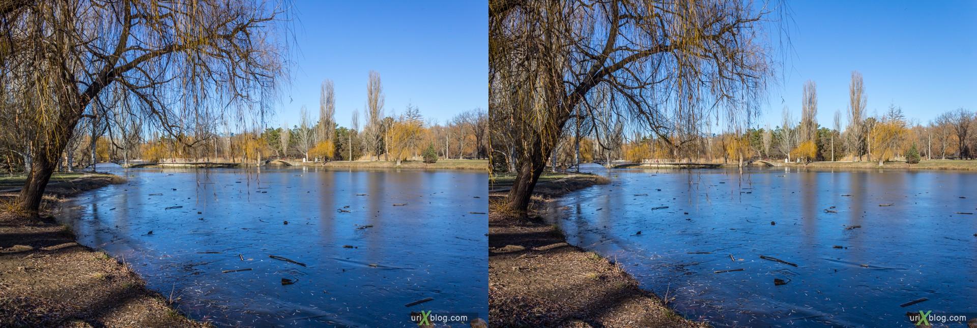 2012, Simferopol, Gagarin park, Crimea, Russia, Ukraine, winter, 3D, stereo pair, cross-eyed, crossview, cross view stereo pair, stereoscopic