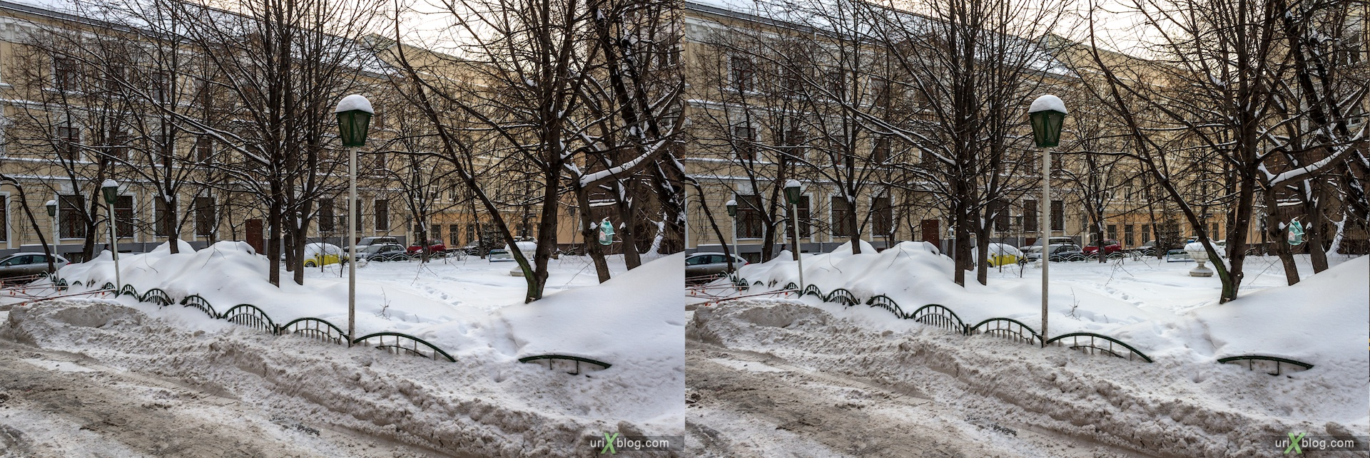 2013, Moscow, street, snow, winter, city, Russia, 3D, stereo pair, cross-eyed, crossview, cross view stereo pair