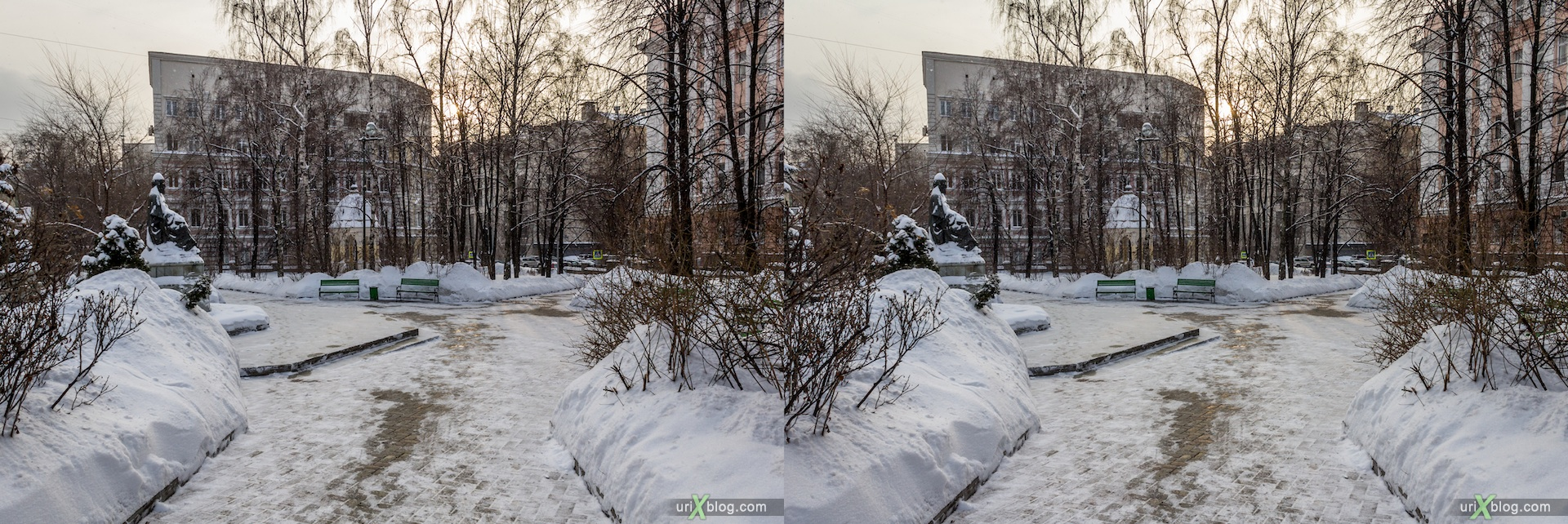 2013, Monument to Nezami Ganjavi, Moscow, snow, winter, city, Russia, 3D, stereo pair, cross-eyed, crossview, cross view stereo pair