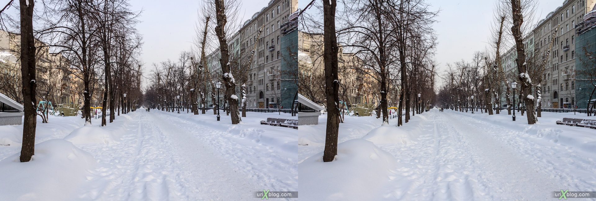 2013, Tverskoy Bulvar, Moscow, snow, winter, city, Russia, 3D, stereo pair, cross-eyed, crossview, cross view stereo pair