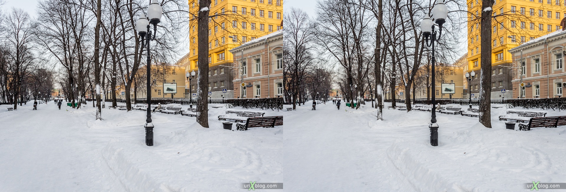 2013, Gogolevskiy Bulvar, Moscow, snow, winter, city, Russia, 3D, stereo pair, cross-eyed, crossview, cross view stereo pair