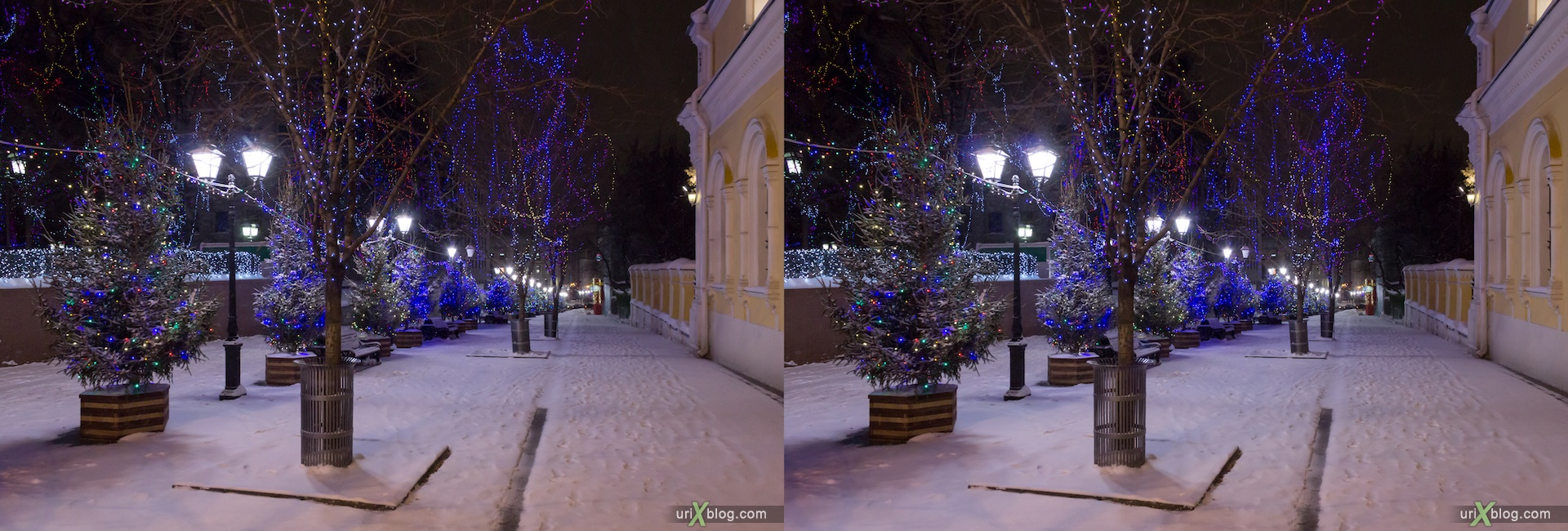 2013, Moscow, Tverskaja square, night, snow, winter, new year, christmass tree, city, Russia, 3D, stereo pair, cross-eyed, crossview, cross view stereo pair