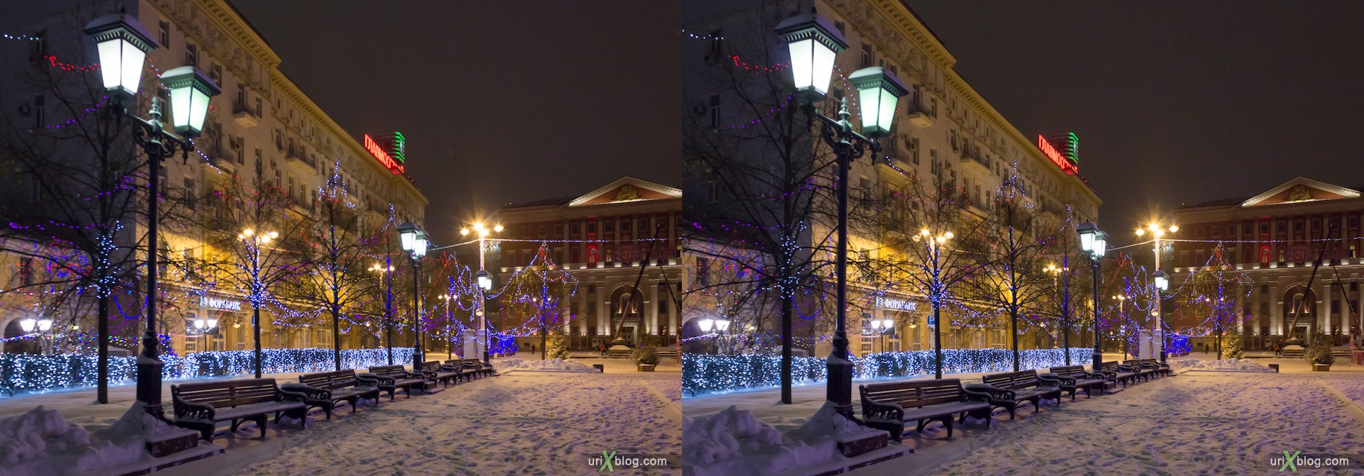 2013, Moscow, Tverskaja square, night, fountain, snow, winter, new year, christmass tree, city, Russia, 3D, stereo pair, cross-eyed, crossview, cross view stereo pair