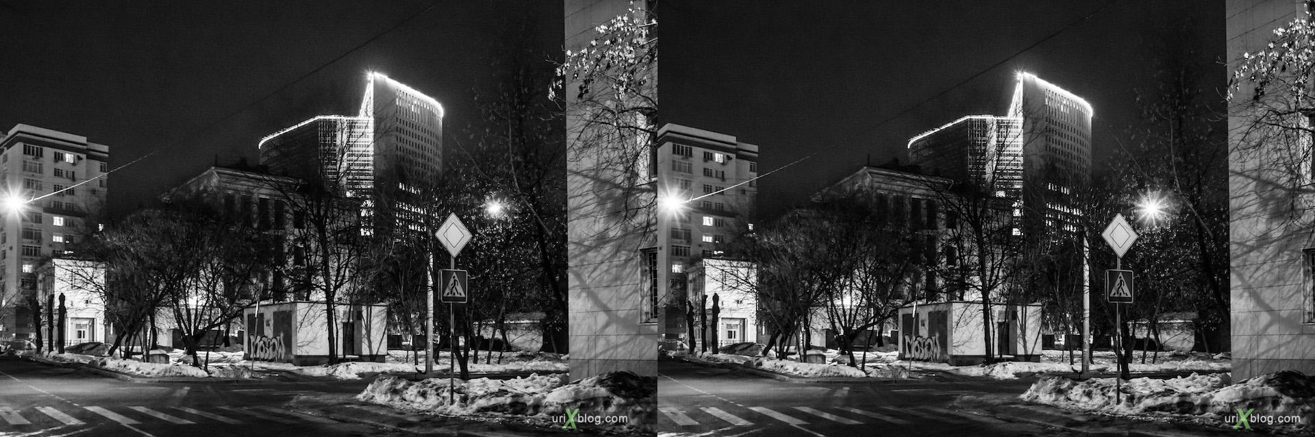 2013, Buzheninova street, night, evening, Moscow, Russia, winter, snow, dust, lantern, tree, building, 3D, stereo pair, cross-eyed, crossview, cross view stereo pair, stereoscopic