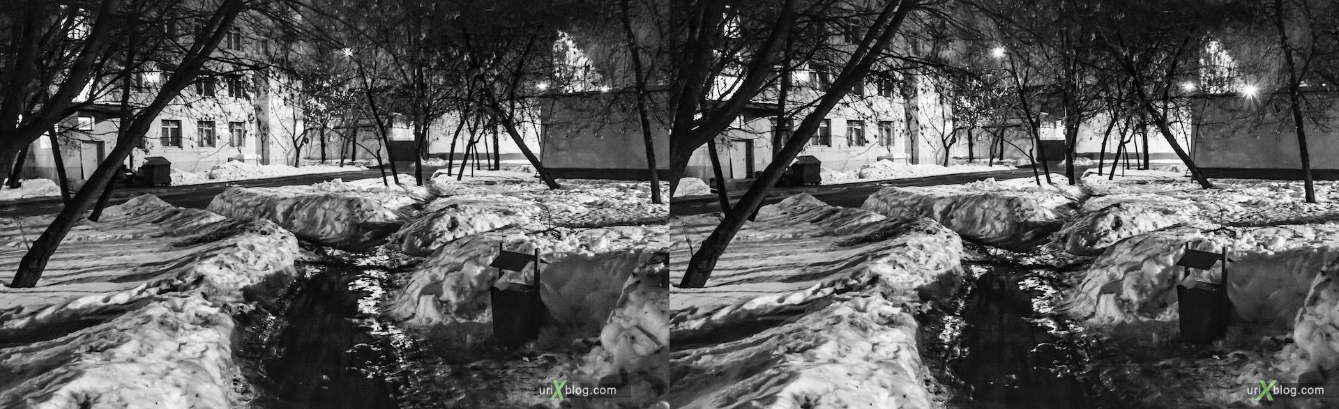 2013, улица Буженинова, ночь, вечер, Москва, Россия, зима, снег, грязь, фонарь, дерево, здание, дом, улица, 3D, перекрёстные стереопары, стерео, стереопара, стереопары