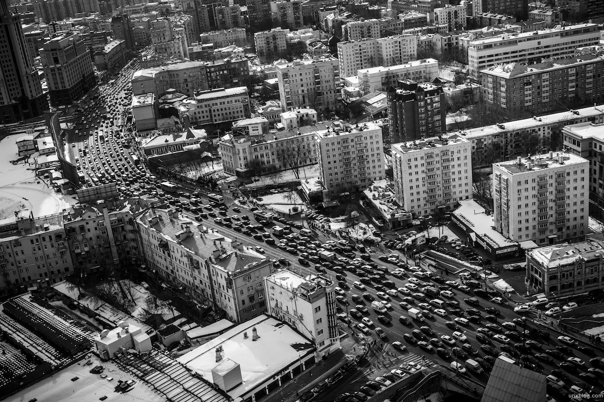 2013, Moscow, Russia, black and white, B/W, swissotel, Red Hill, Paveletskaya square, Paveletsky railway station, Zatsepskiy val street, traffic jam, cars, sky, clouds
