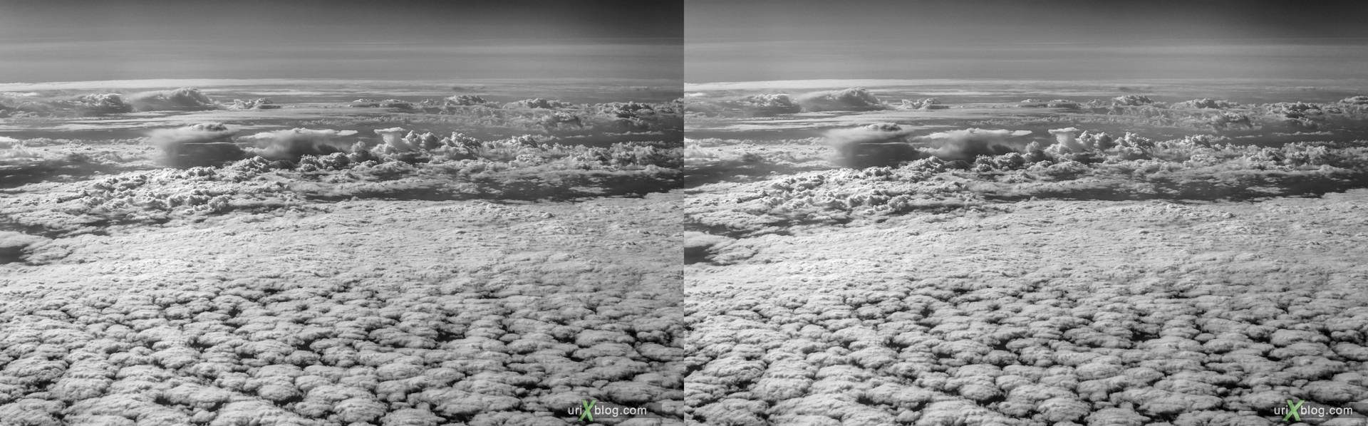 2013, Atlantic ocean, Norwegian sea, panorama, airplane, black and white, bw, snow, ice, clouds, horizon, 3D, stereo pair, cross-eyed, crossview, cross view stereo pair, stereoscopic