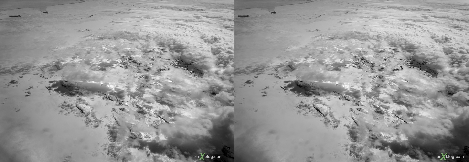 2013, Newfoundland and Labrador, panorama, airplane, black and white, bw, snow, ice, clouds, horizon, 3D, stereo pair, cross-eyed, crossview, cross view stereo pair, stereoscopic