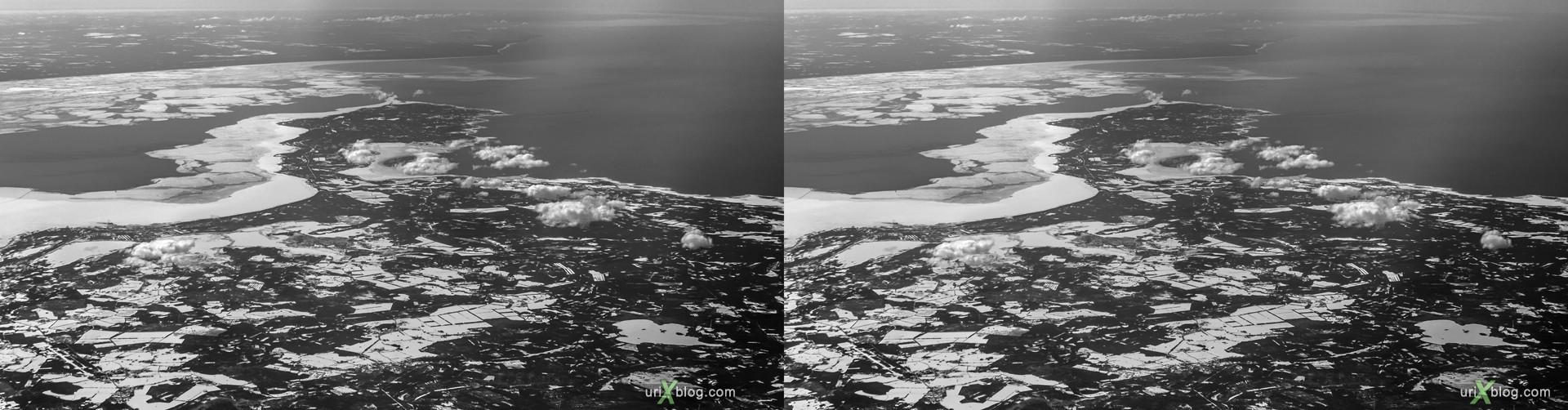 2013, Baltic sea, Gulf of Riga, Saaremaa island, Estonia, panorama, airplane, black and white, bw, snow, ice, clouds, horizon, 3D, stereo pair, cross-eyed, crossview, cross view stereo pair, stereoscopic