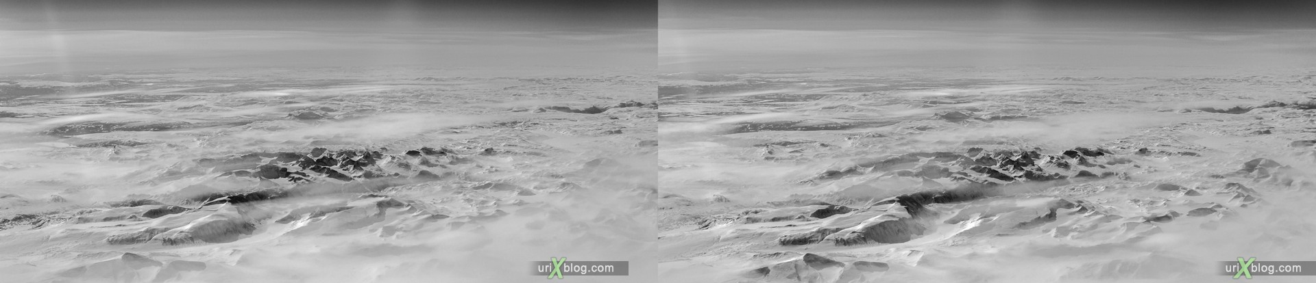 2013, Norway, mountains, panorama, airplane, black and white, bw, snow, ice, clouds, horizon, 3D, stereo pair, cross-eyed, crossview, cross view stereo pair, stereoscopic