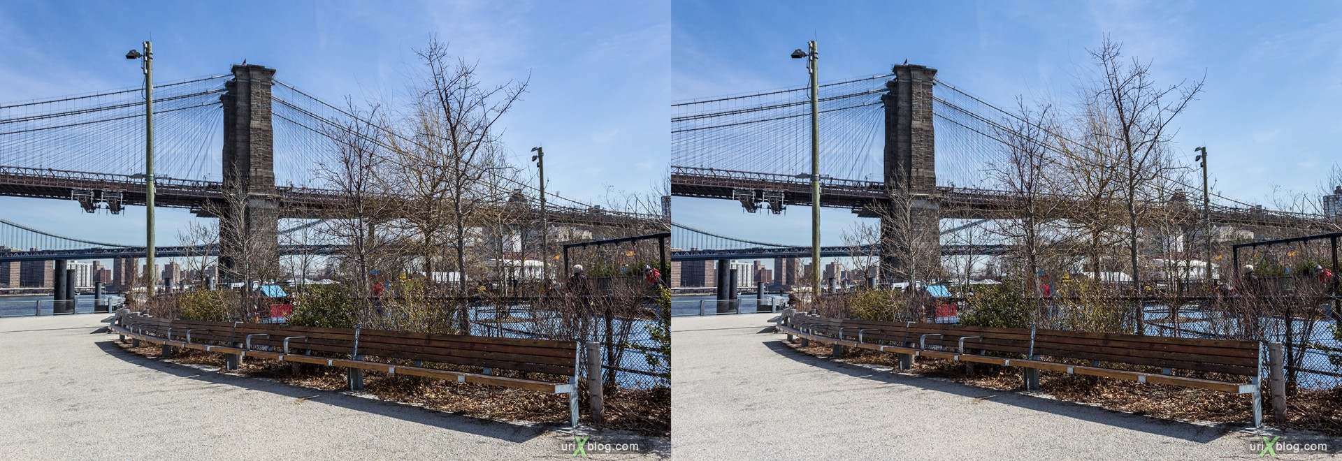 2013, Brooklyn Bridge park, Brooklyn, NYC, New York City, USA, 3D, stereo pair, cross-eyed, crossview, cross view stereo pair, stereoscopic