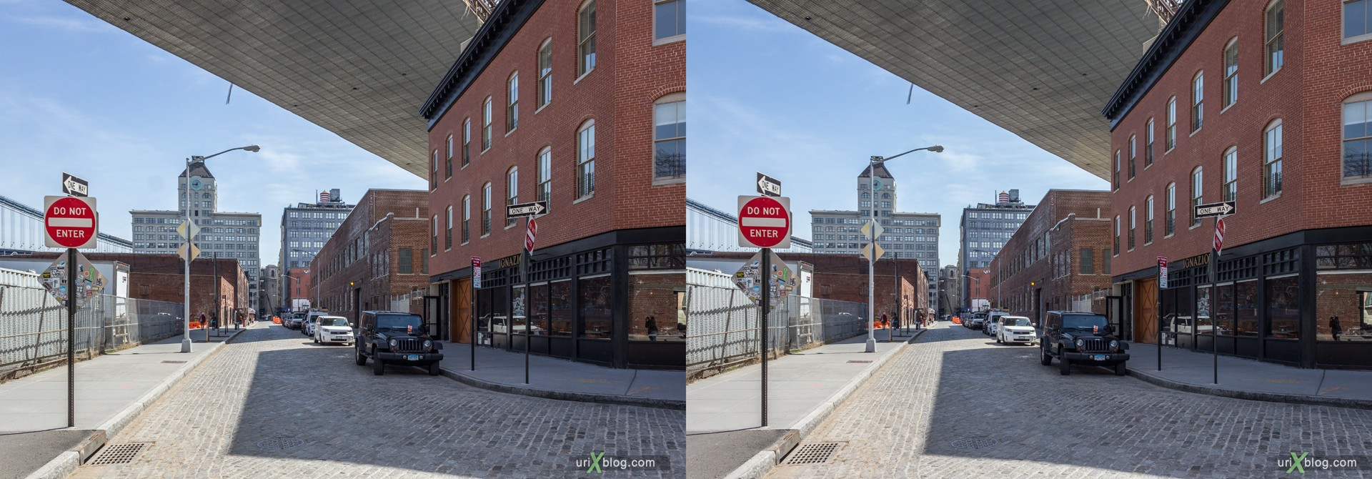 2013, Water street, Brooklyn, NYC, New York City, USA, 3D, stereo pair, cross-eyed, crossview, cross view stereo pair, stereoscopic