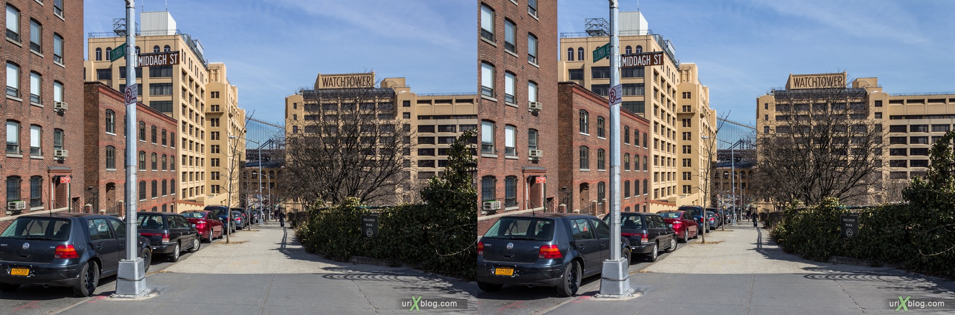 2013, Columbia Heights street, Brooklyn, NYC, New York City, USA, 3D, stereo pair, cross-eyed, crossview, cross view stereo pair, stereoscopic