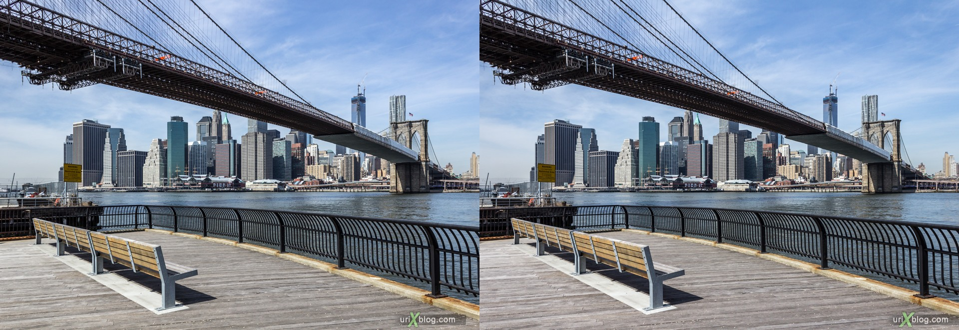 2013, Brooklyn Bridge park, NYC, New York City, USA, 3D, stereo pair, cross-eyed, crossview, cross view stereo pair, stereoscopic