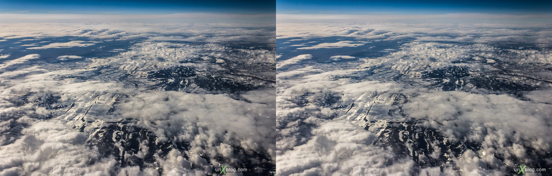2013, Rocky mountains, USA, panorama, airplane, black and white, bw, snow, ice, clouds, horizon, 3D, stereo pair, cross-eyed, crossview, cross view stereo pair, stereoscopic