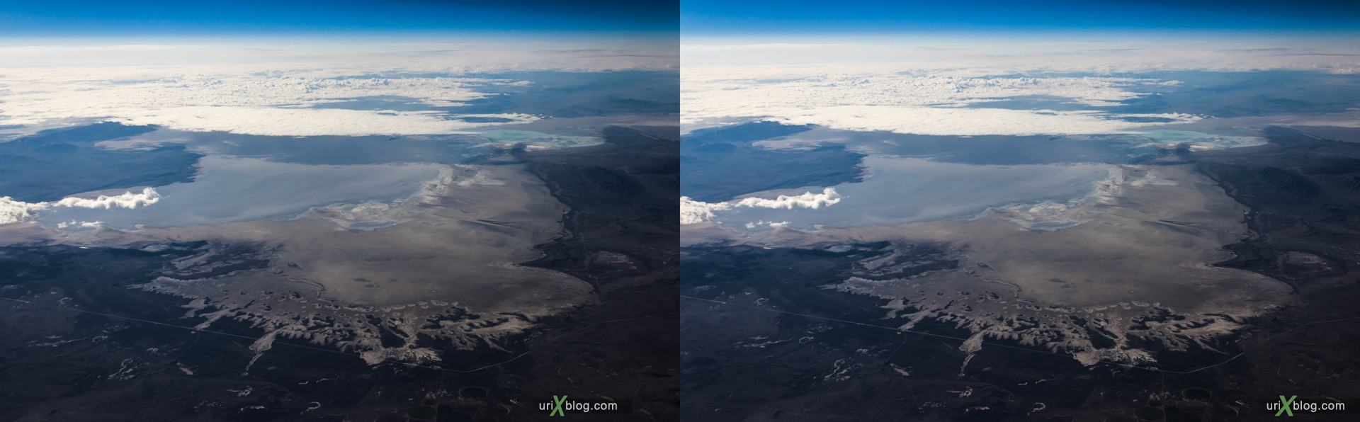 2013, Great Salt Lake, Utah, Rocky mountains, USA, panorama, airplane, black and white, bw, snow, ice, clouds, horizon, 3D, stereo pair, cross-eyed, crossview, cross view stereo pair, stereoscopic
