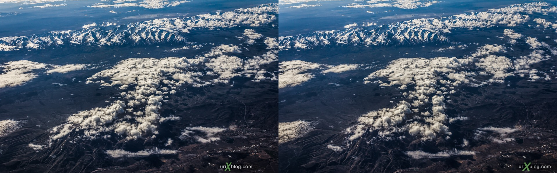 2013, Nevada, Rocky mountains, USA, panorama, airplane, black and white, bw, snow, ice, clouds, horizon, 3D, stereo pair, cross-eyed, crossview, cross view stereo pair, stereoscopic