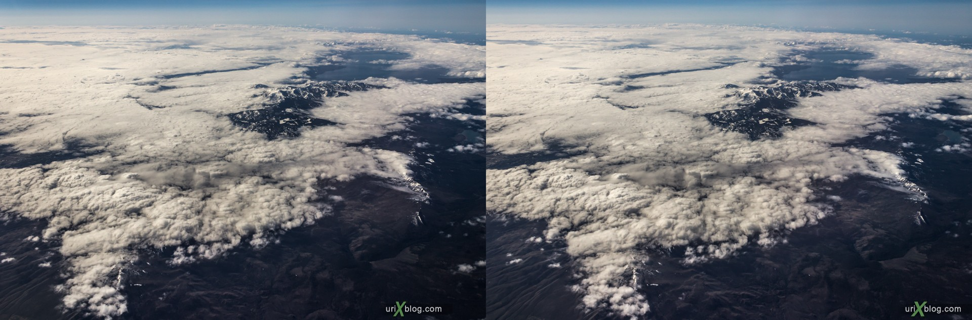 2013, California, Rocky mountains, USA, panorama, airplane, black and white, bw, snow, ice, clouds, horizon, 3D, stereo pair, cross-eyed, crossview, cross view stereo pair, stereoscopic